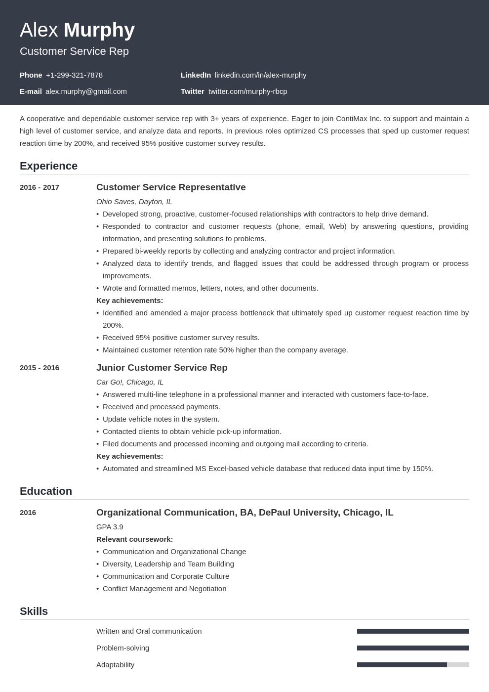 coursework resume