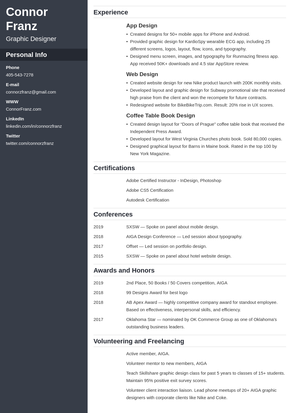 resume two page template cascade
