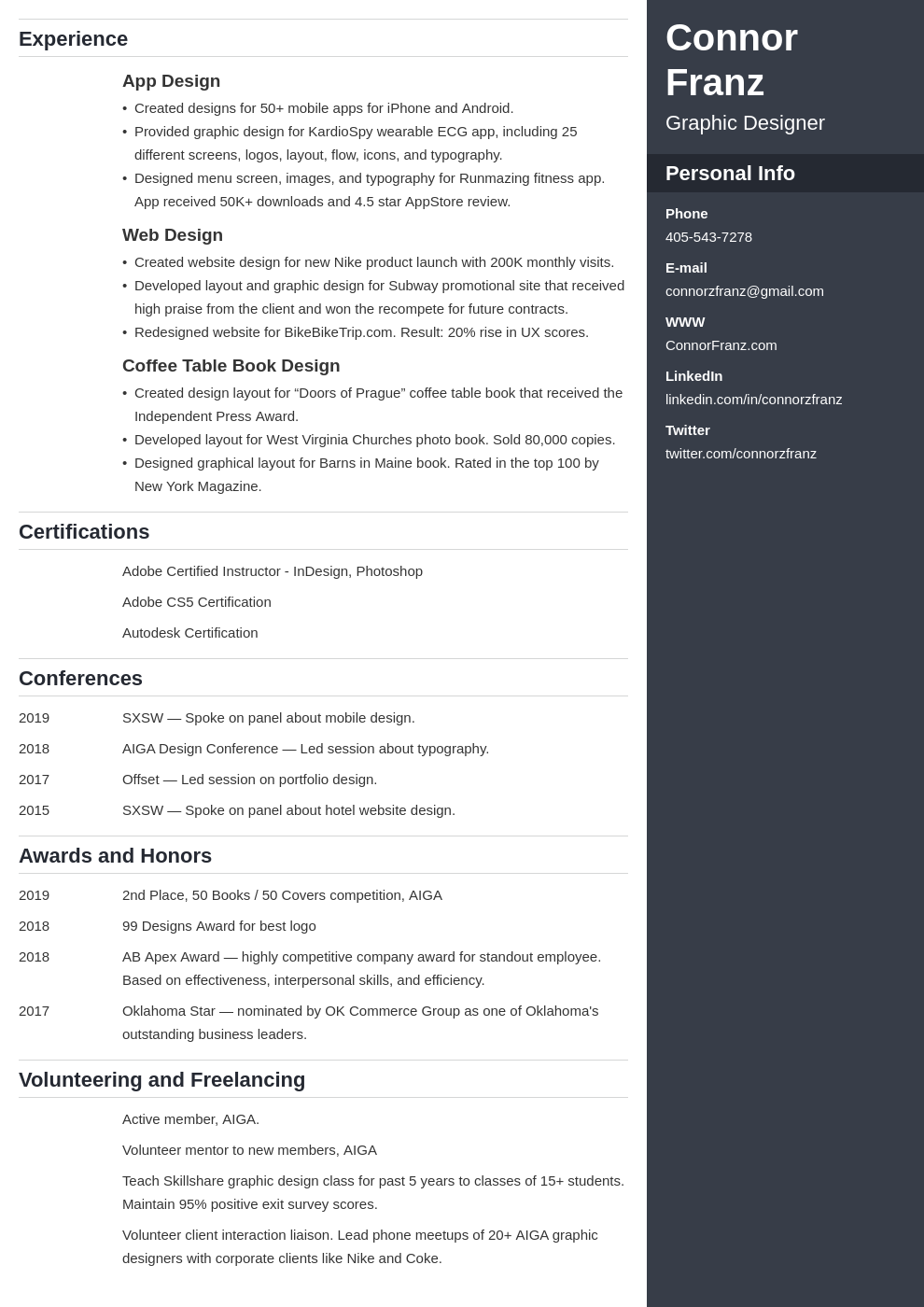 resume two page template enfold