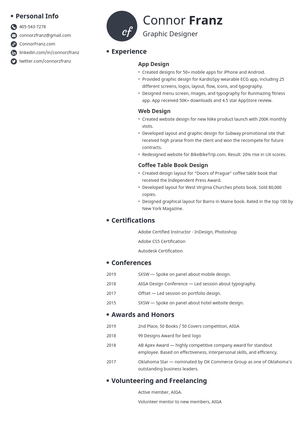 resume two page template initials