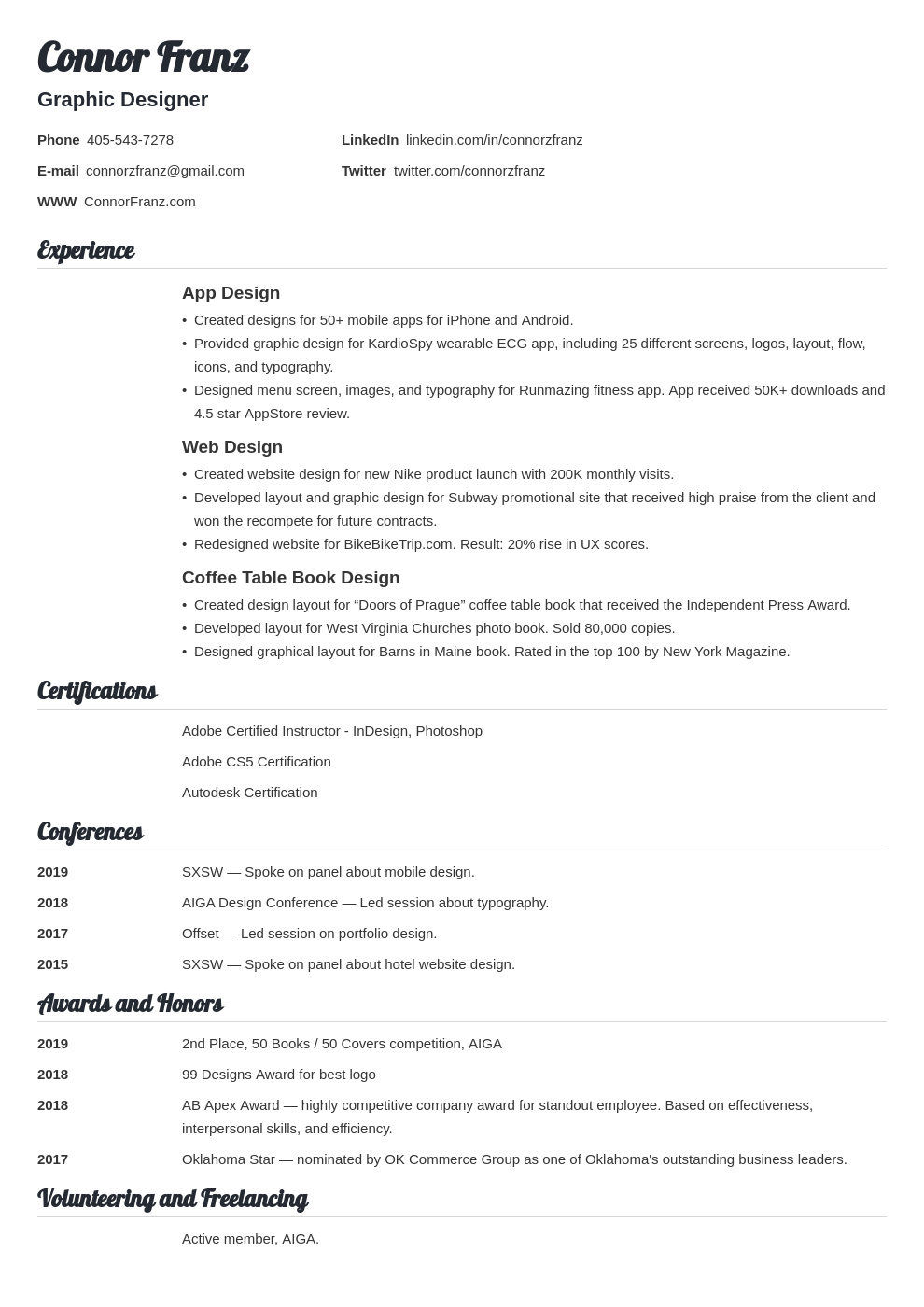 resume two page template valera
