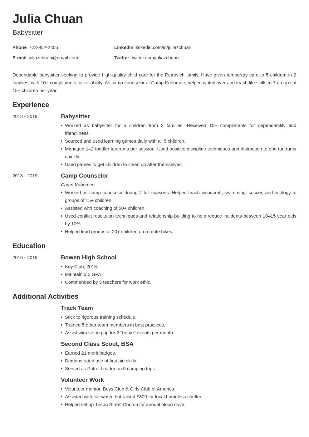 resume volunteering template minimo