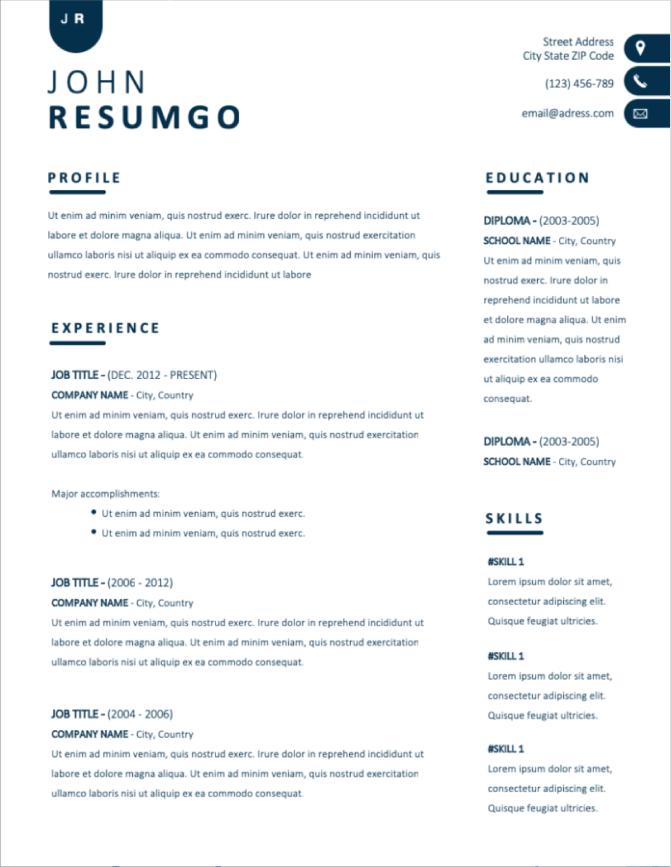 10 Template Resume dan CV Eksekutif Download Gratis untuk Microsoft Word