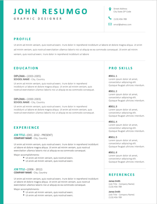 50  free resume templates for microsoft word to download