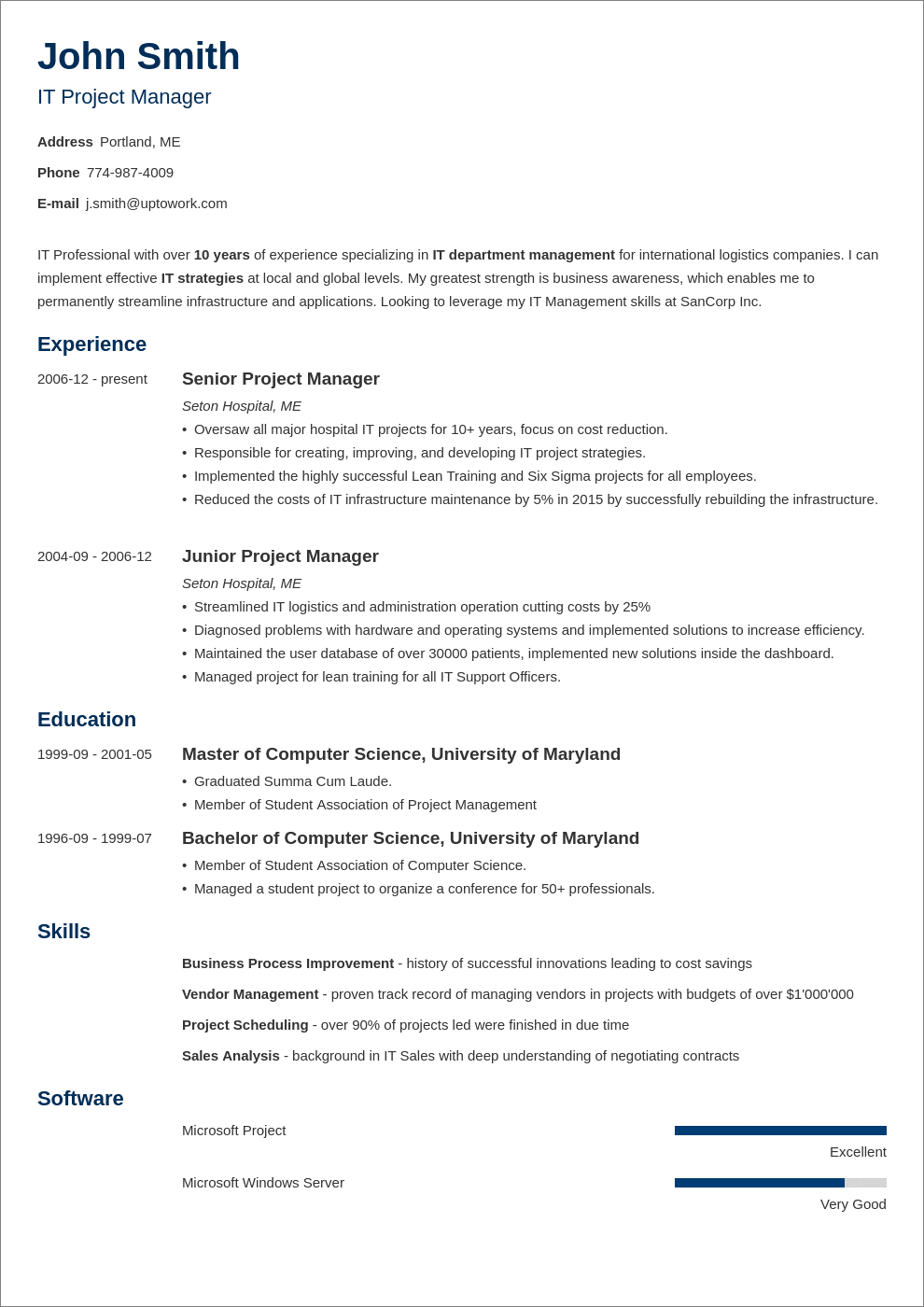 one-page resume style