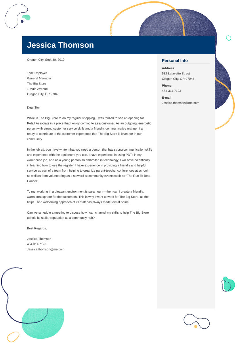 Retail Cover Letter Examples Ready To Use Templates