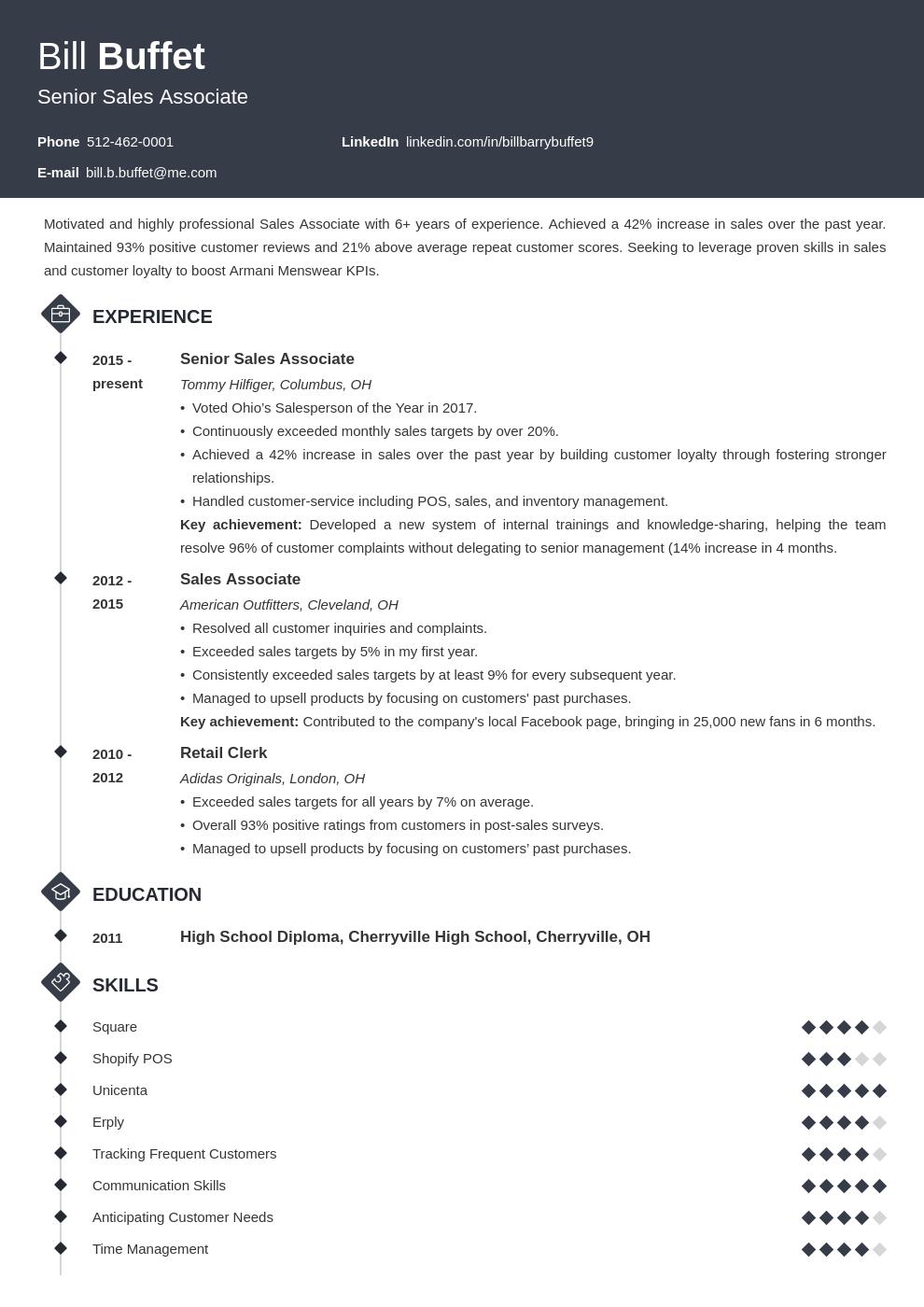 sales associate template diamond uk