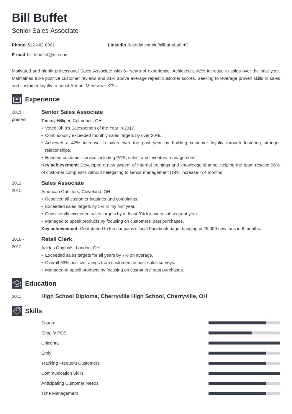 sales associate template newcast