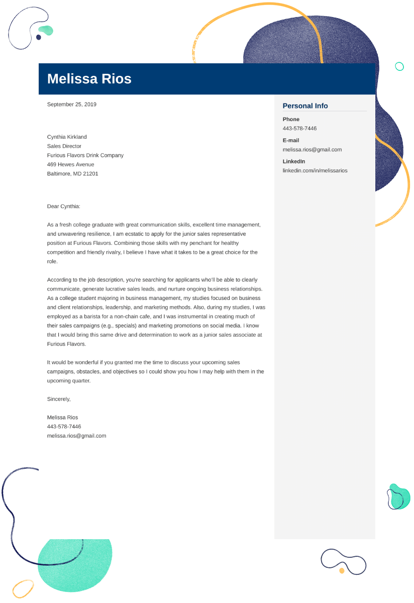 Sales Cover Letter Examples Ready To Use Templates