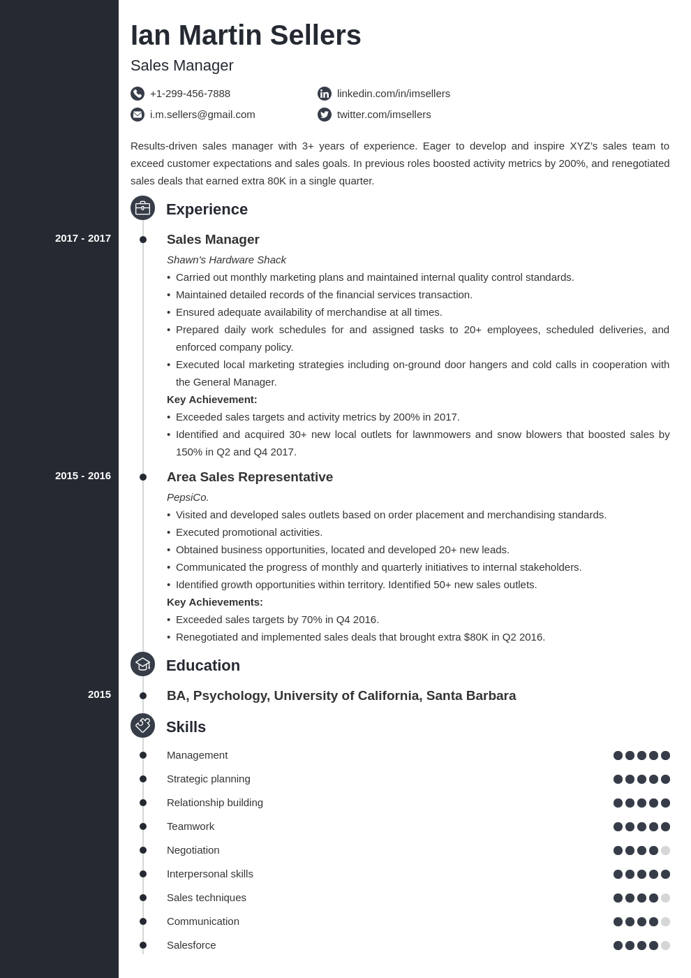 sales manager template concept