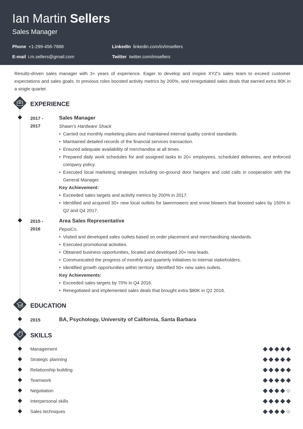 sales manager template diamond