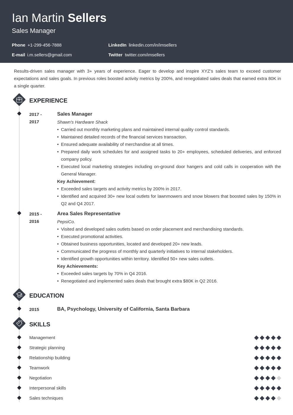 sales manager template diamond uk