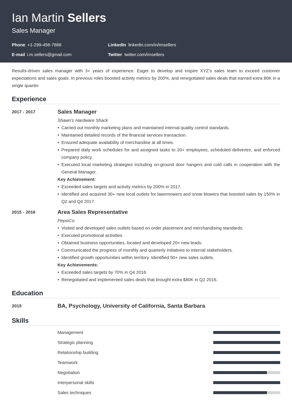 sales manager template influx uk