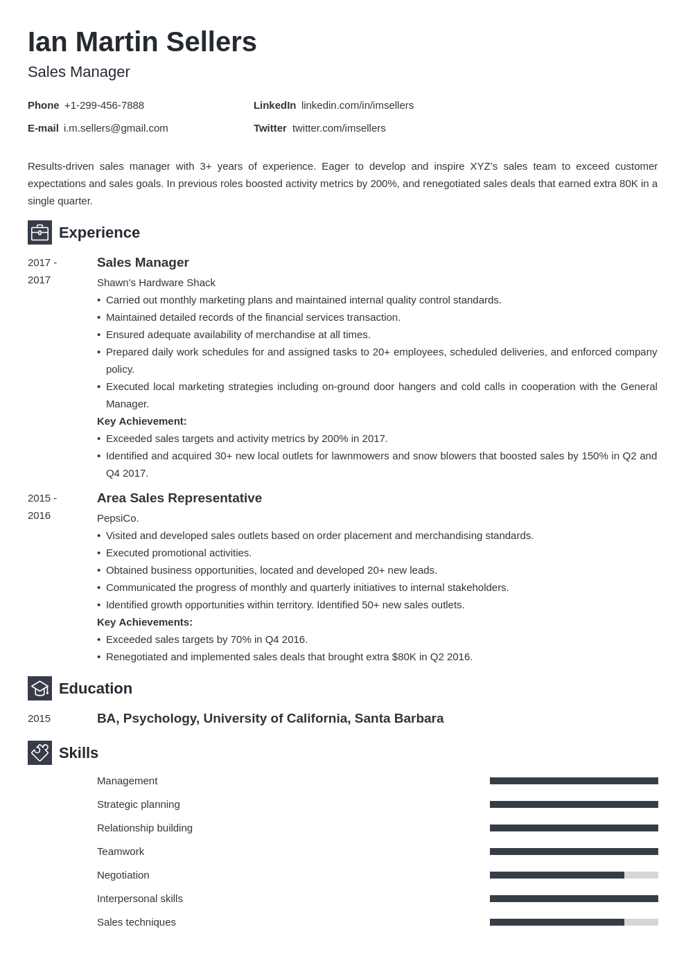 sales manager template newcast
