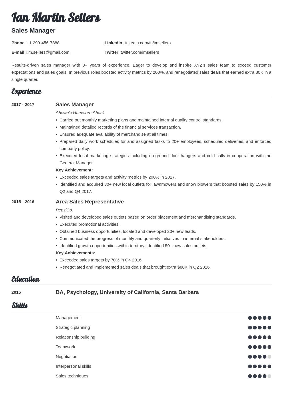 sales manager template valera uk