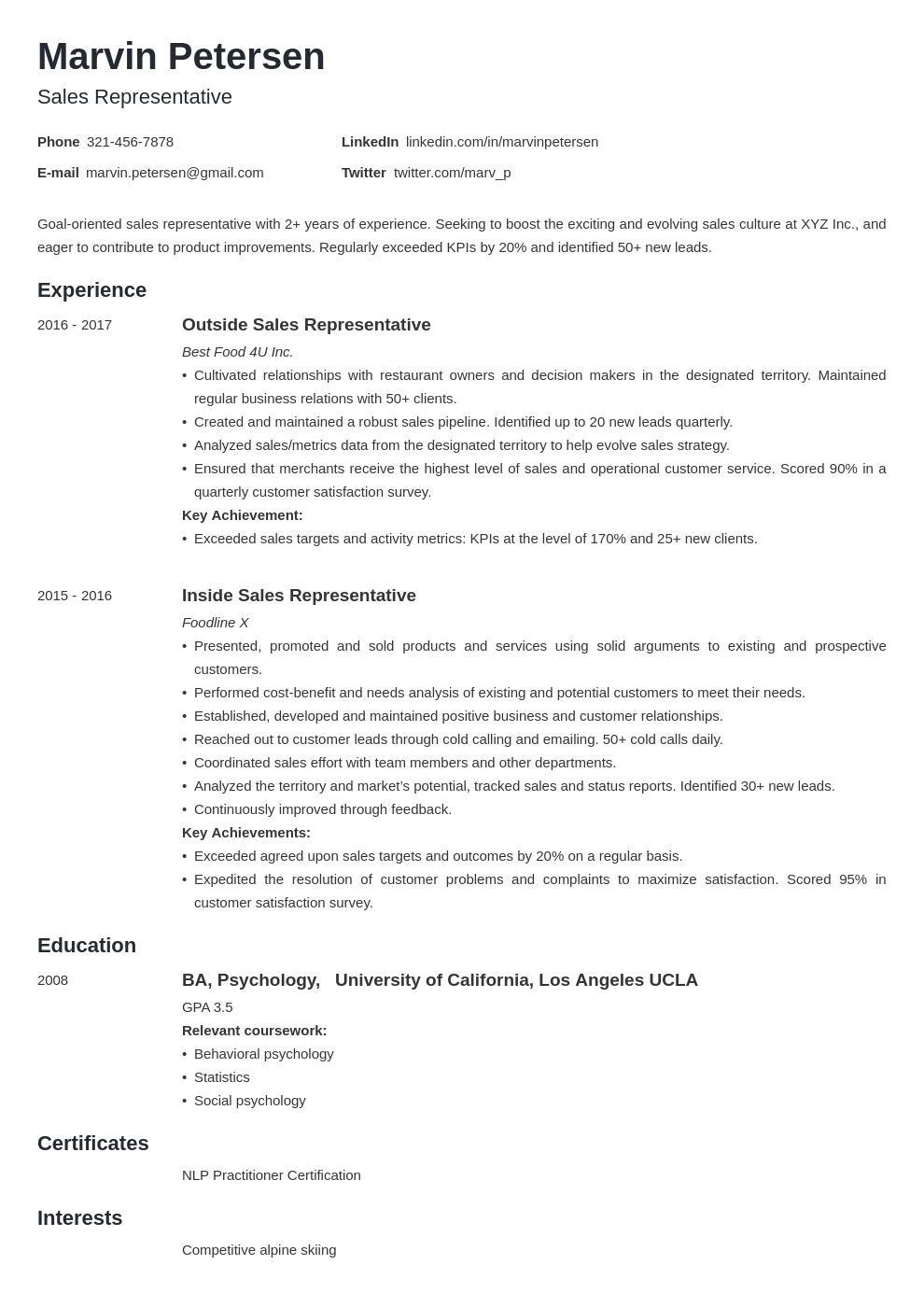 sales representative template minimo uk