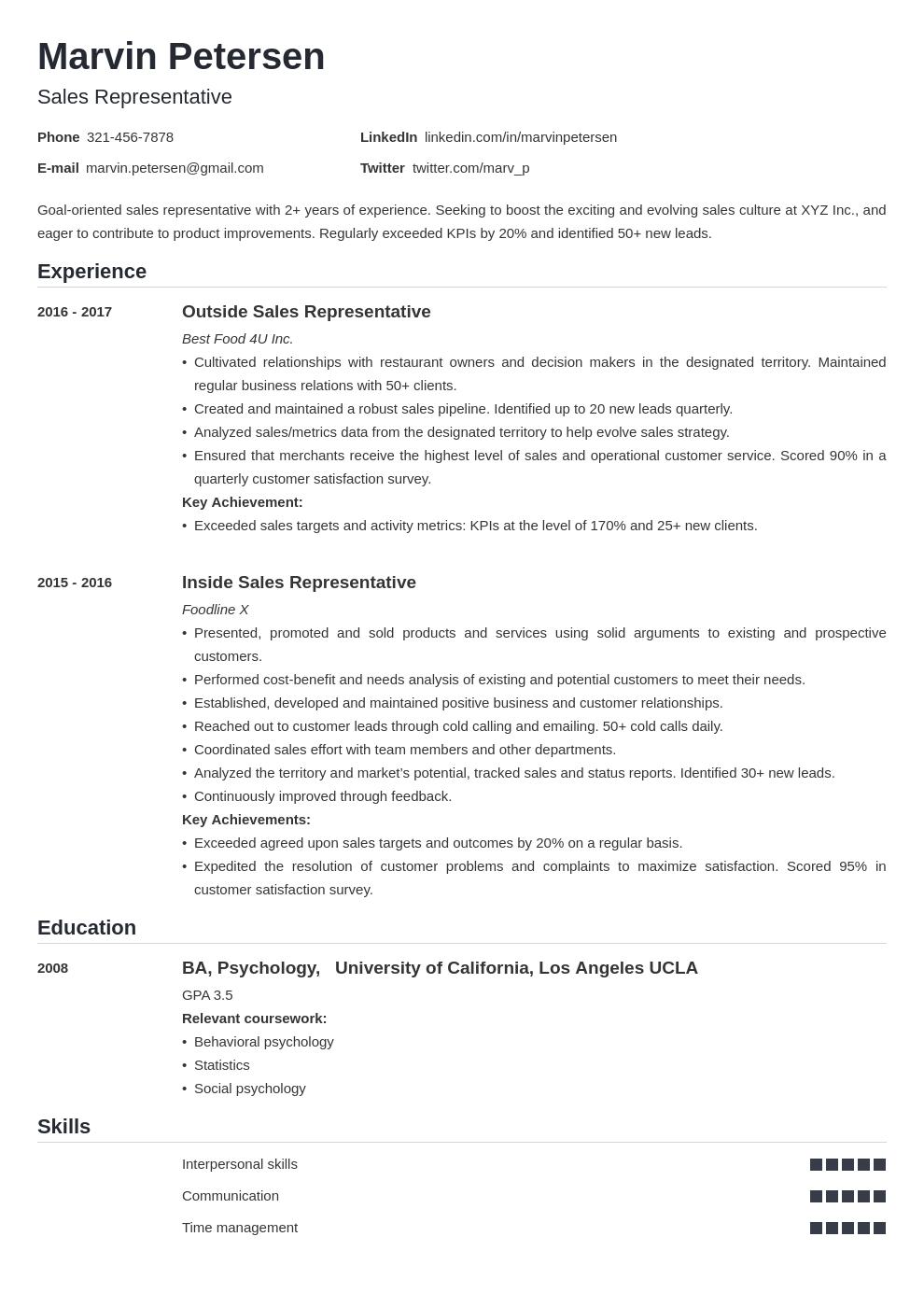 sales representative template nanica uk