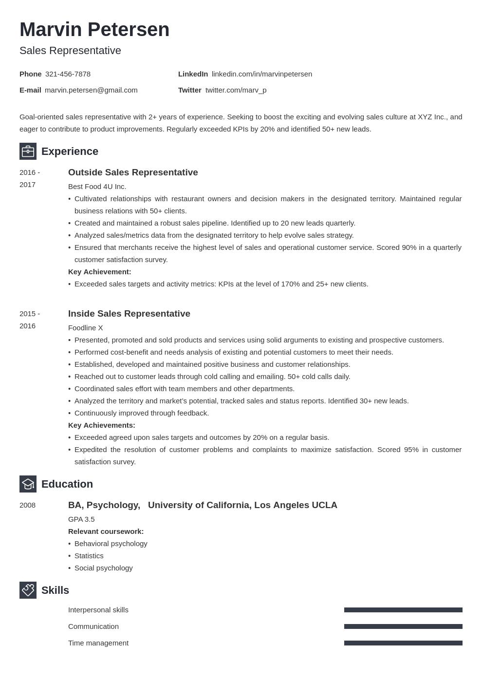 sales representative template newcast