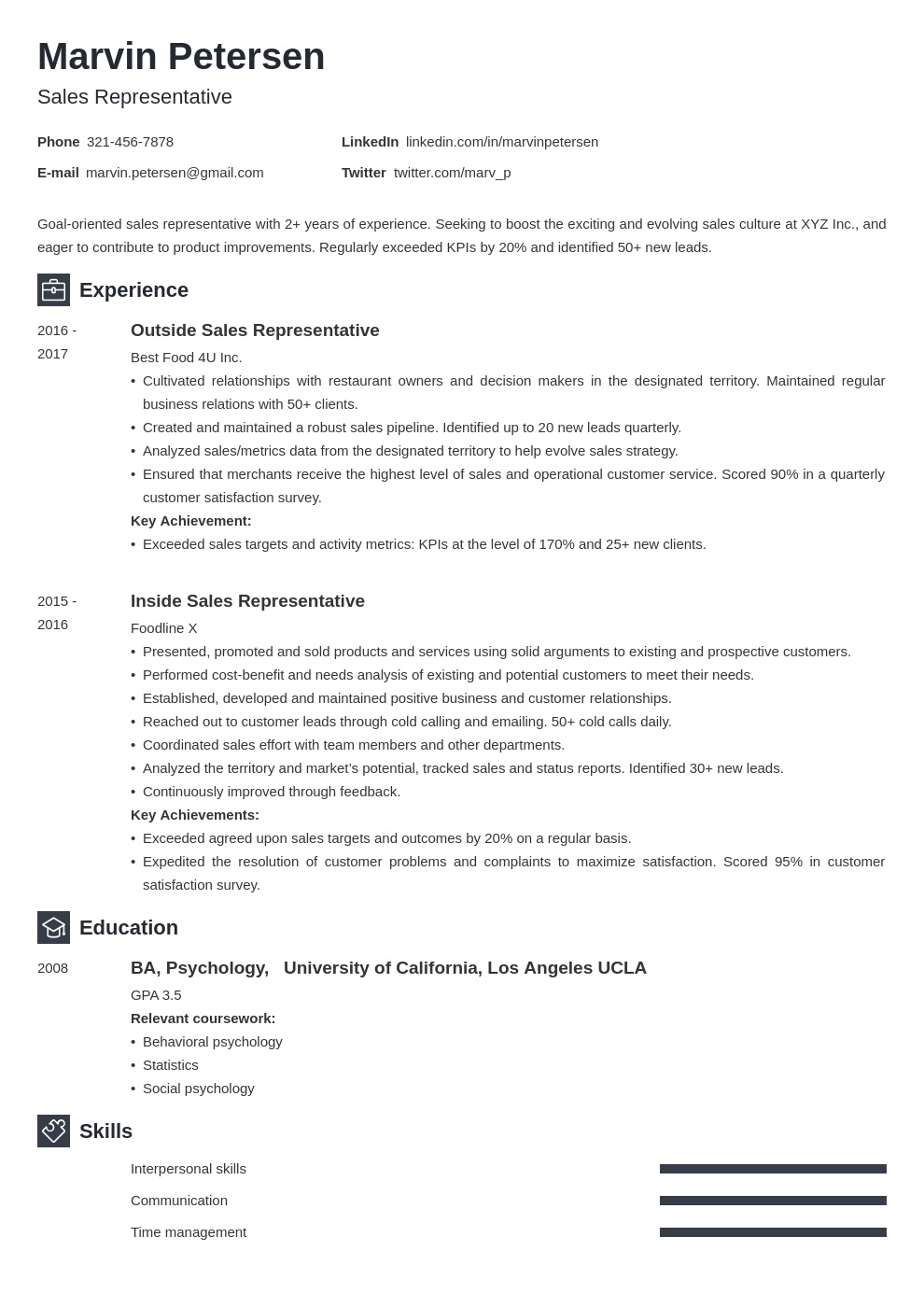 sales representative template newcast uk