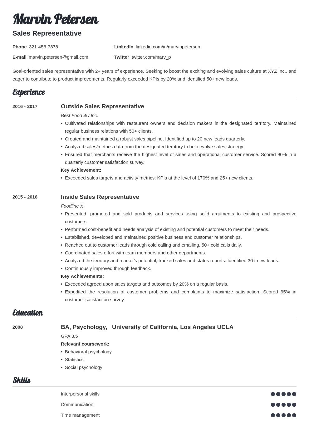 sales representative template valera
