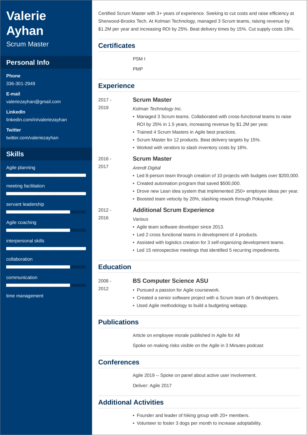 Scrum Master Resume Examples And 25 Writing Tips