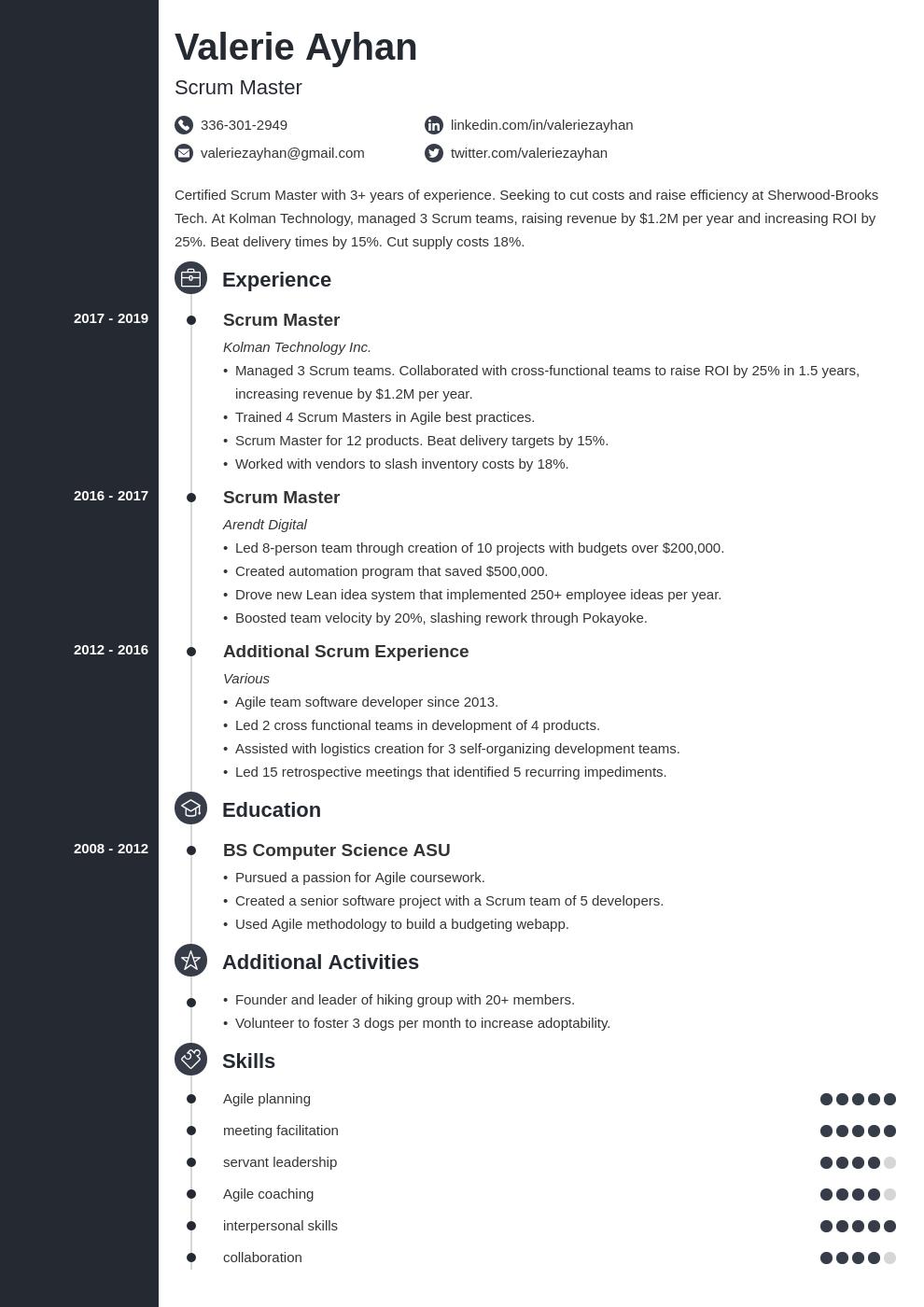 scrum master template concept uk