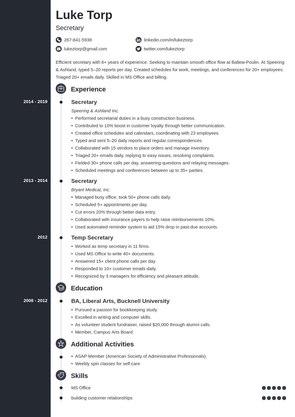 secretary template concept uk