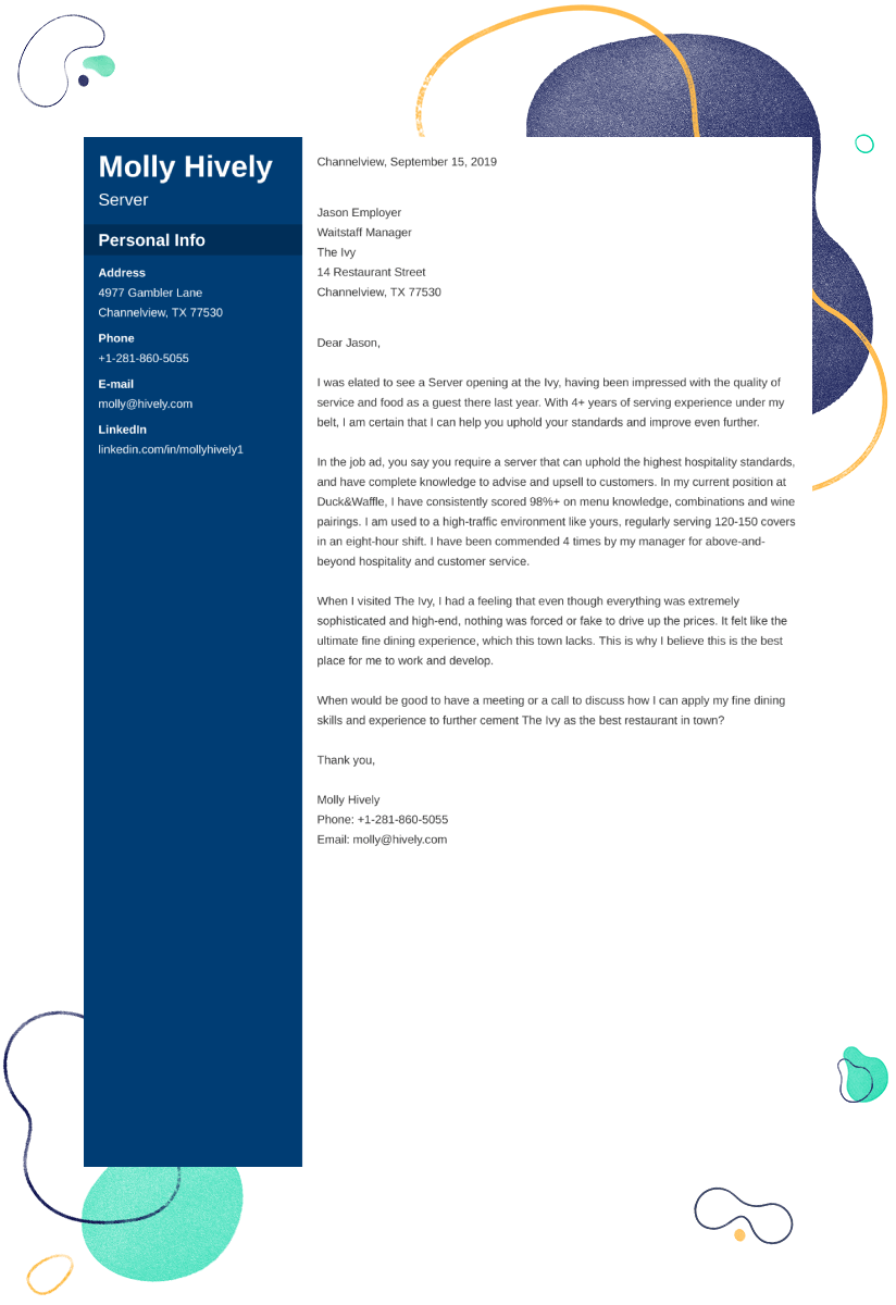 server cover letter example