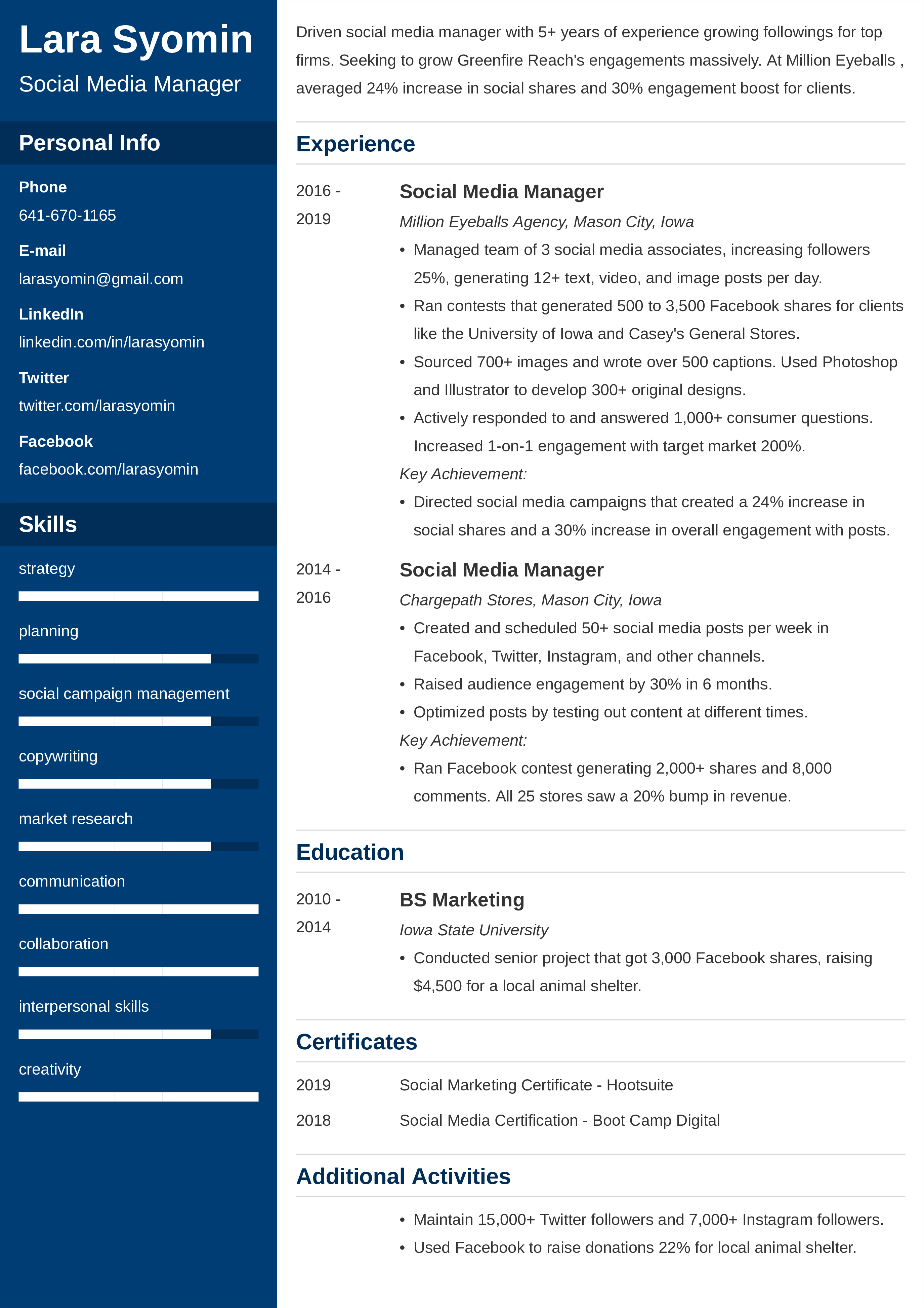 social media manager resume templates