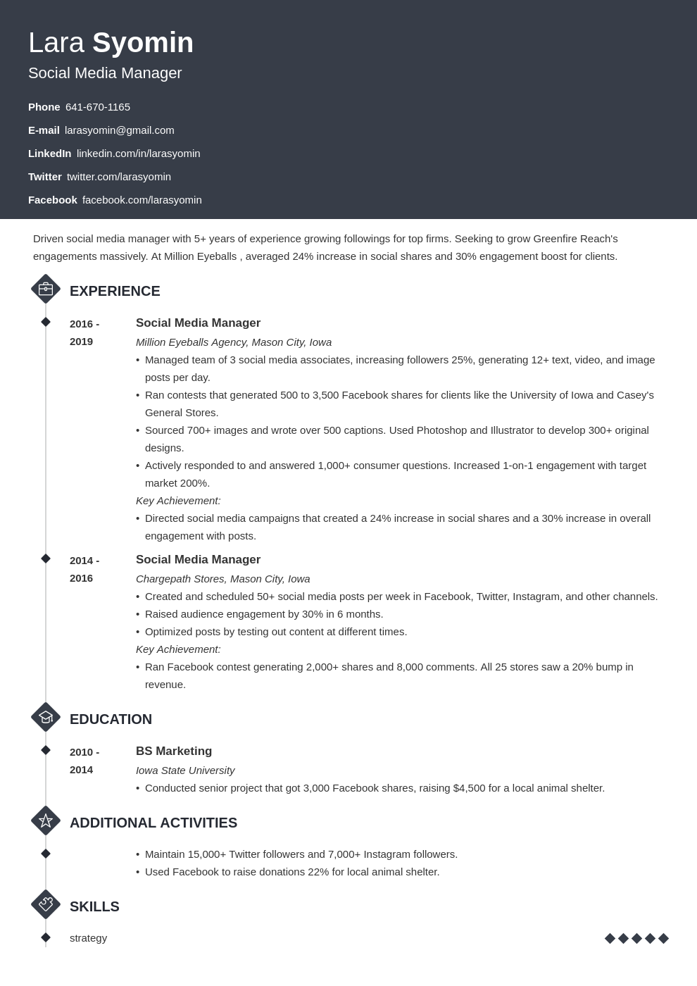 social media manager template diamond