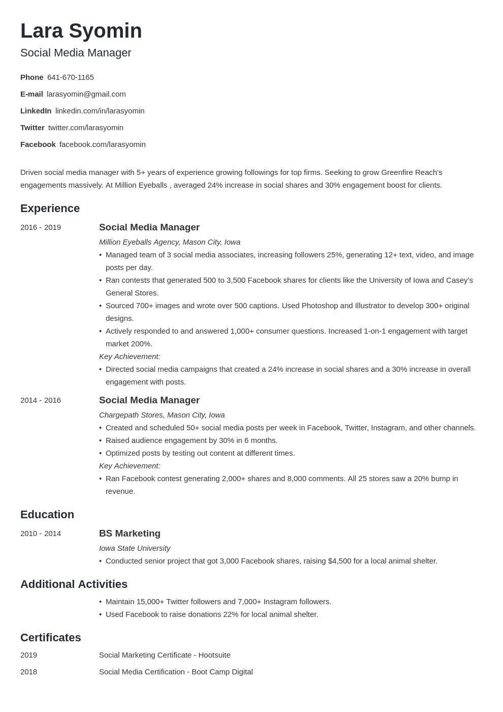 social media manager template minimo uk