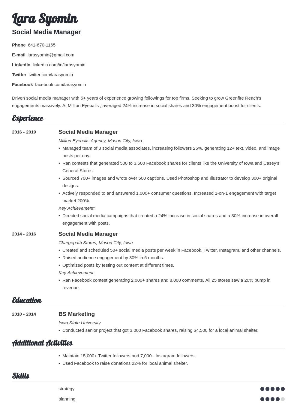 social media manager template valera uk
