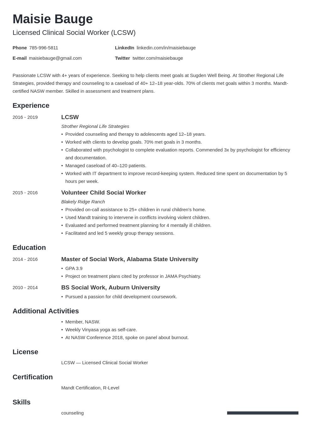 social work template minimo uk