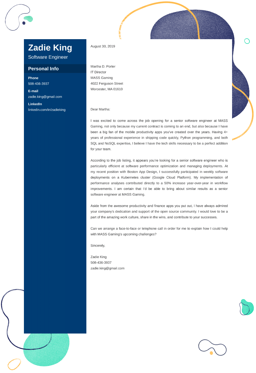 Software Engineer Cover Letter Examples Ready To Use Templates