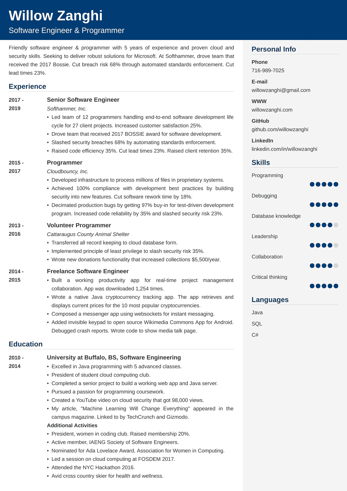 Software Engineer Resume Template—25+ Examples and Writing Tips