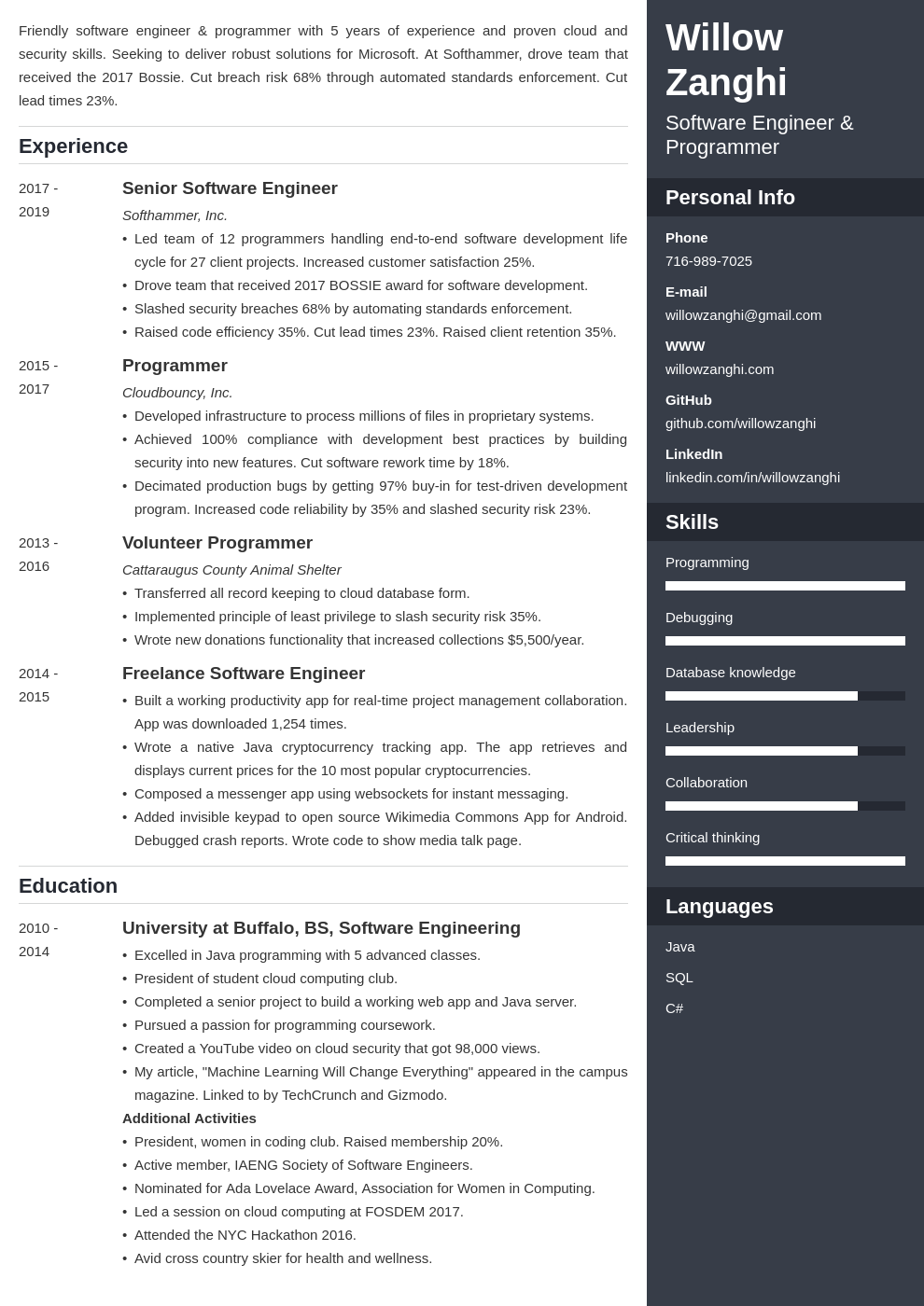 software engineer template enfold