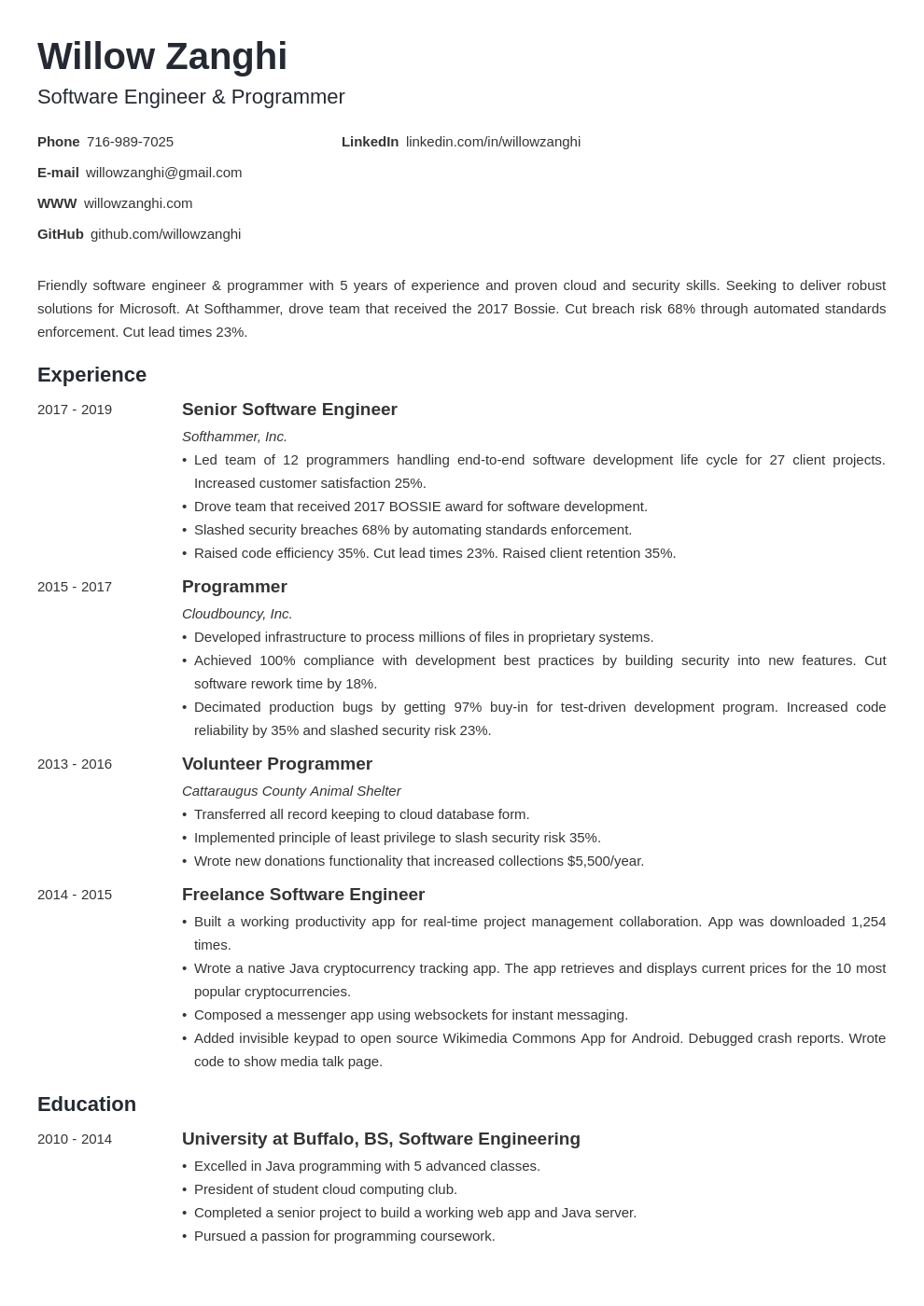 software engineer template minimo