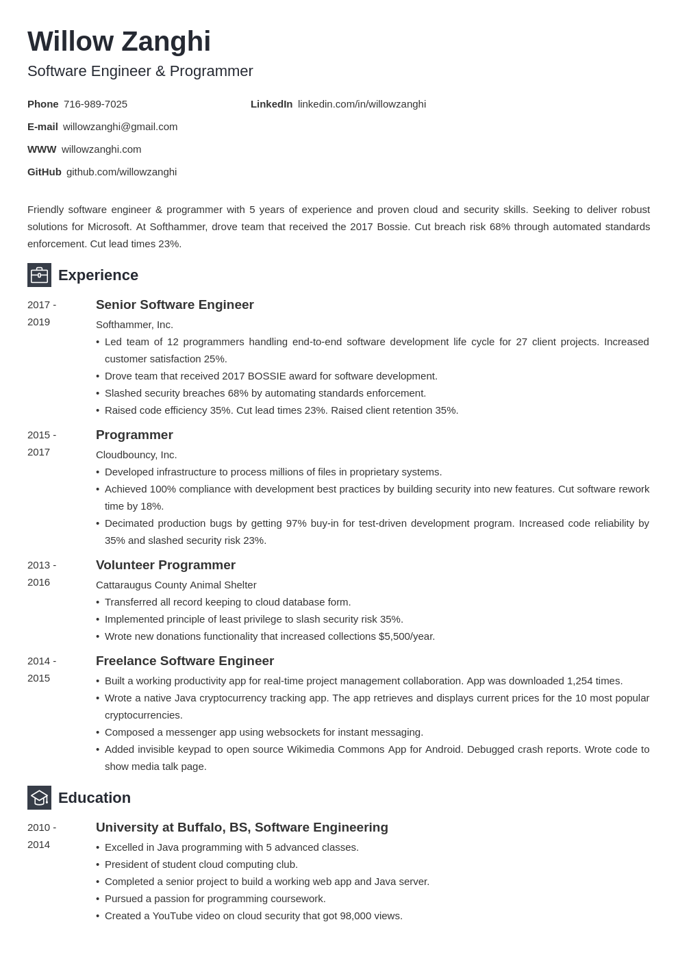 software engineer template newcast