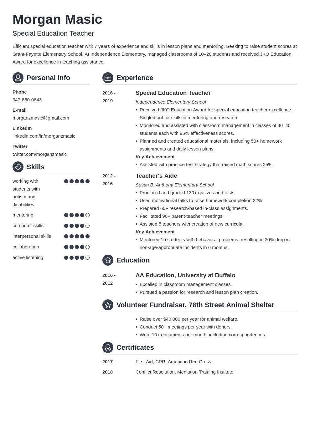 special education teacher template crisp uk