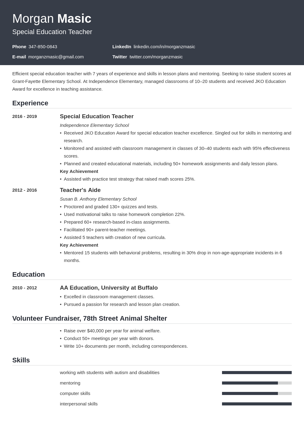 special education teacher template influx