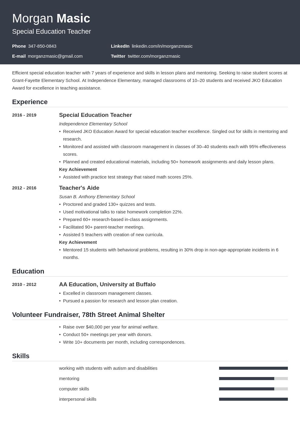 special education teacher template influx uk