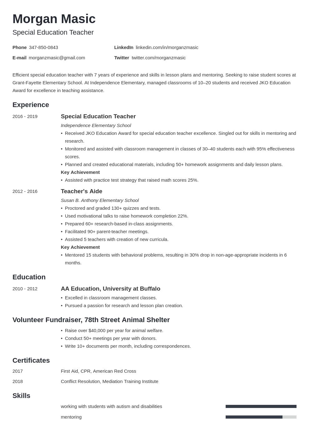 special education teacher template minimo uk