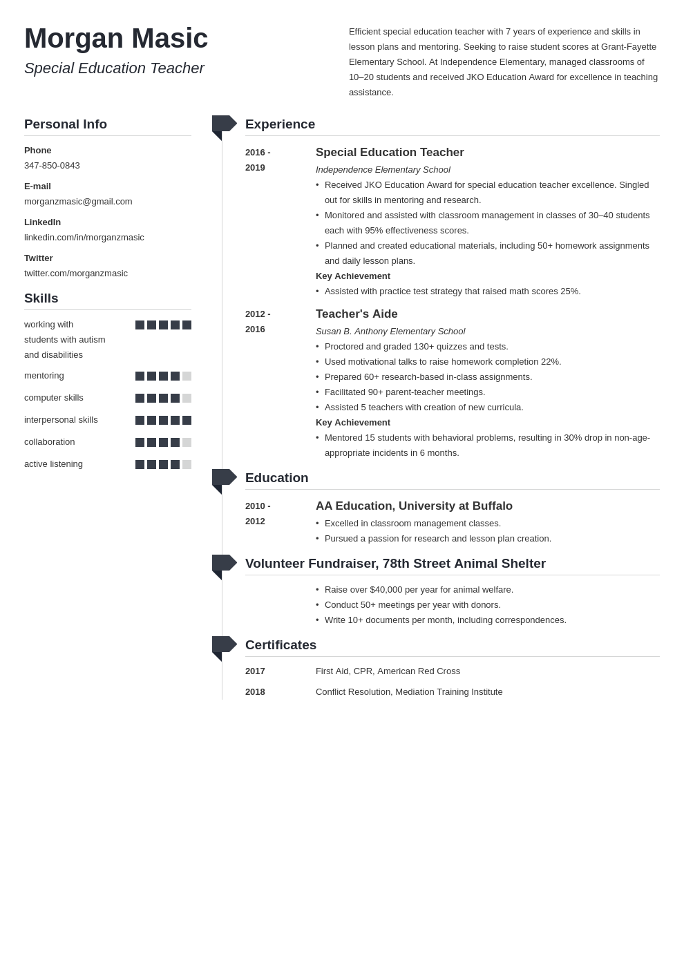 special education teacher template muse