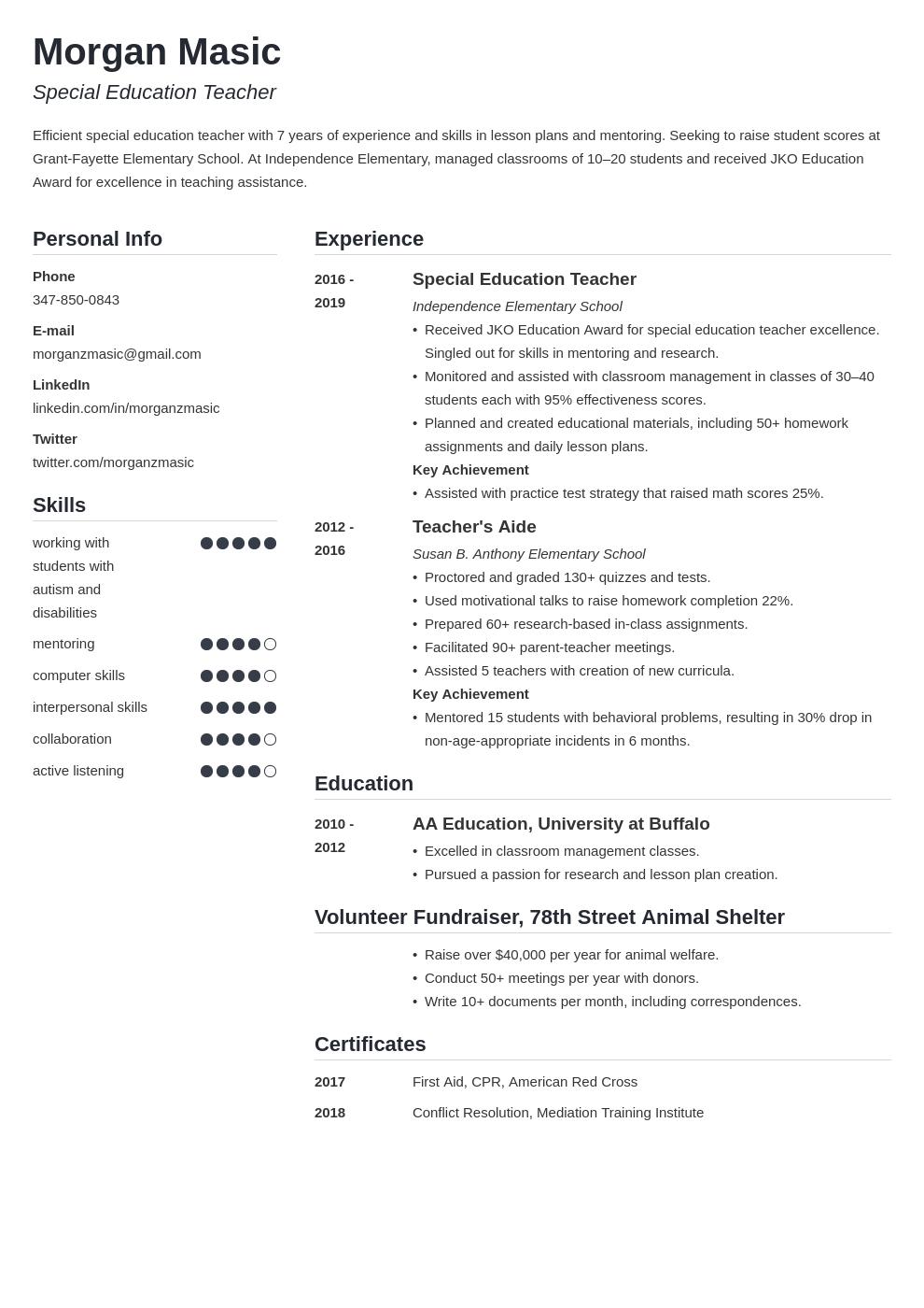special education teacher template simple uk