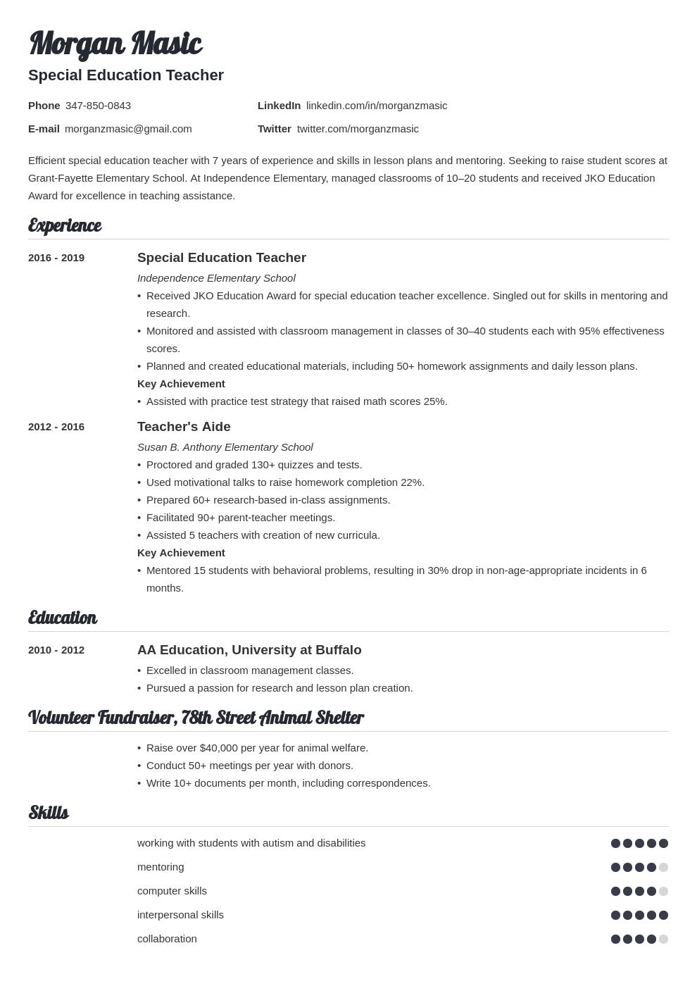 special education teacher template valera uk
