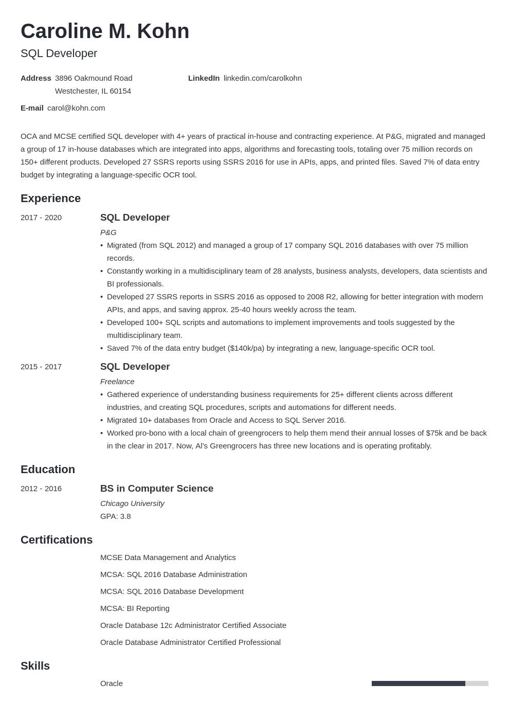 sql developer template minimo uk
