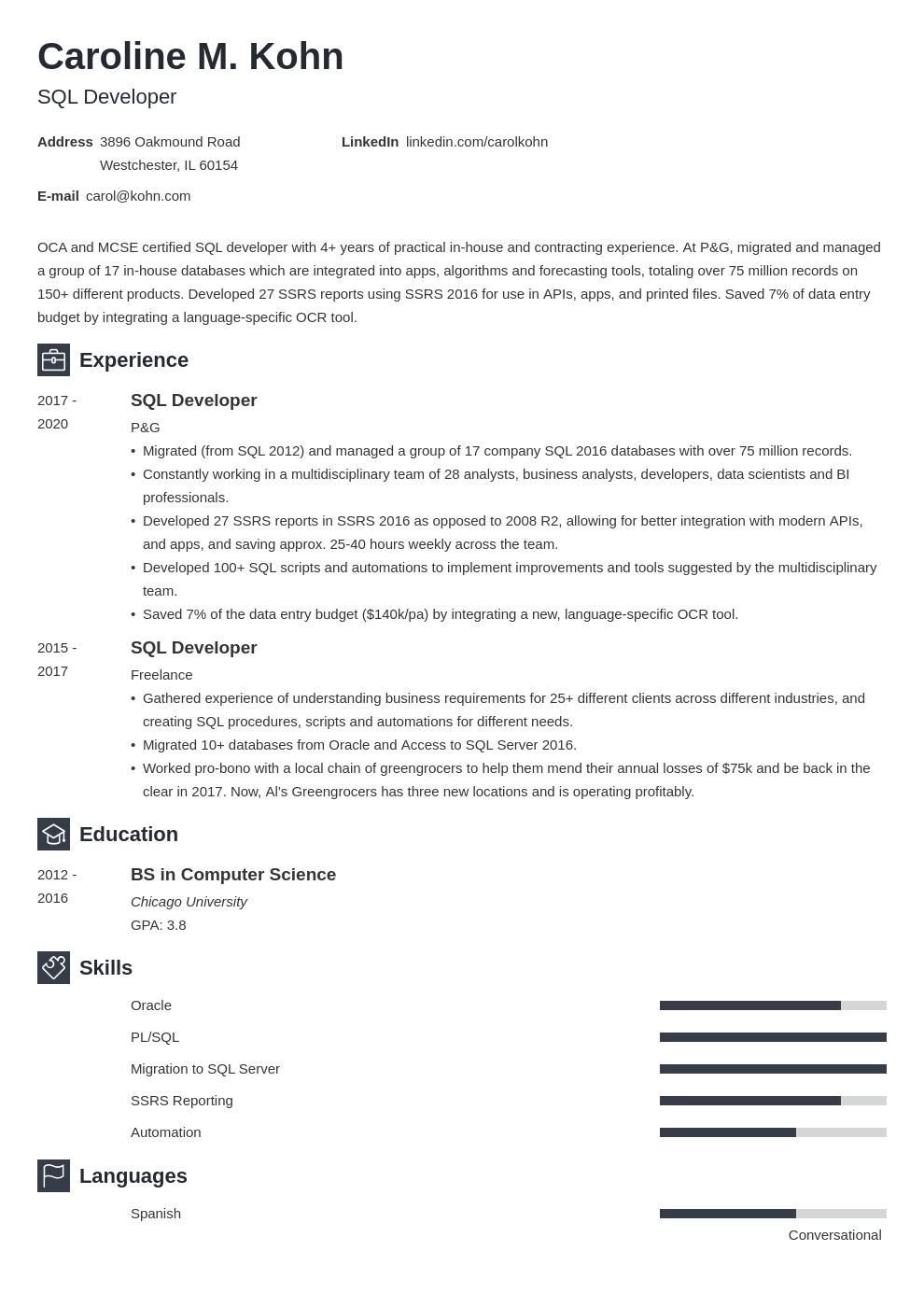 sql developer template newcast uk