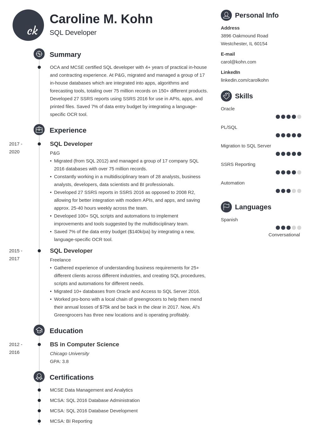 sql developer template primo uk