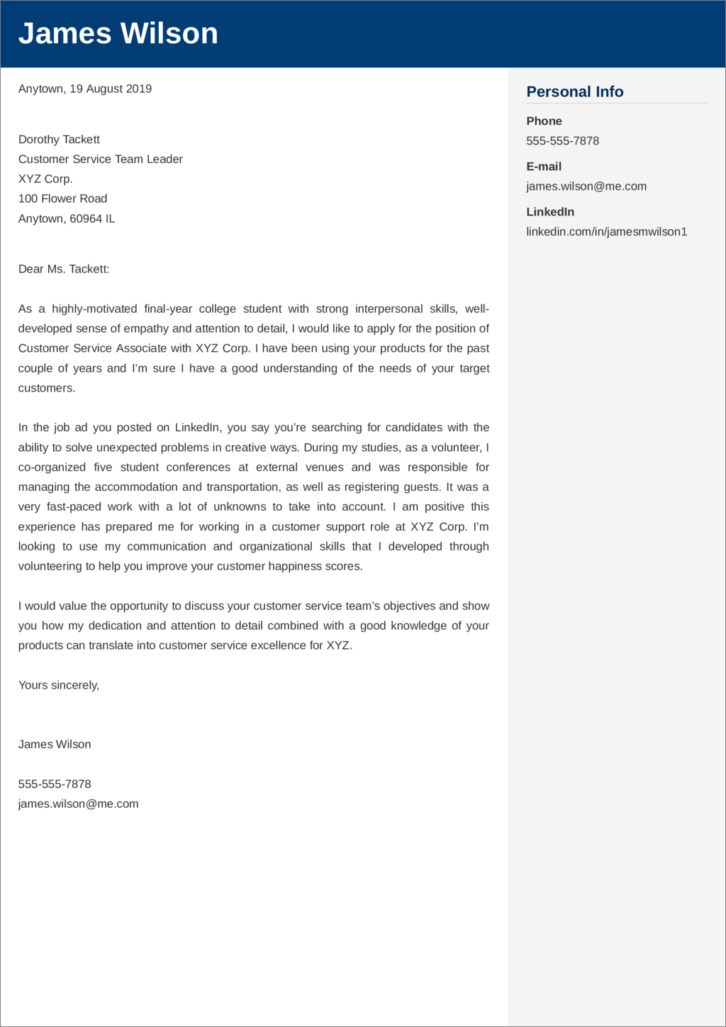 Customer Service Cover Letter Examples Ready To Use Templates