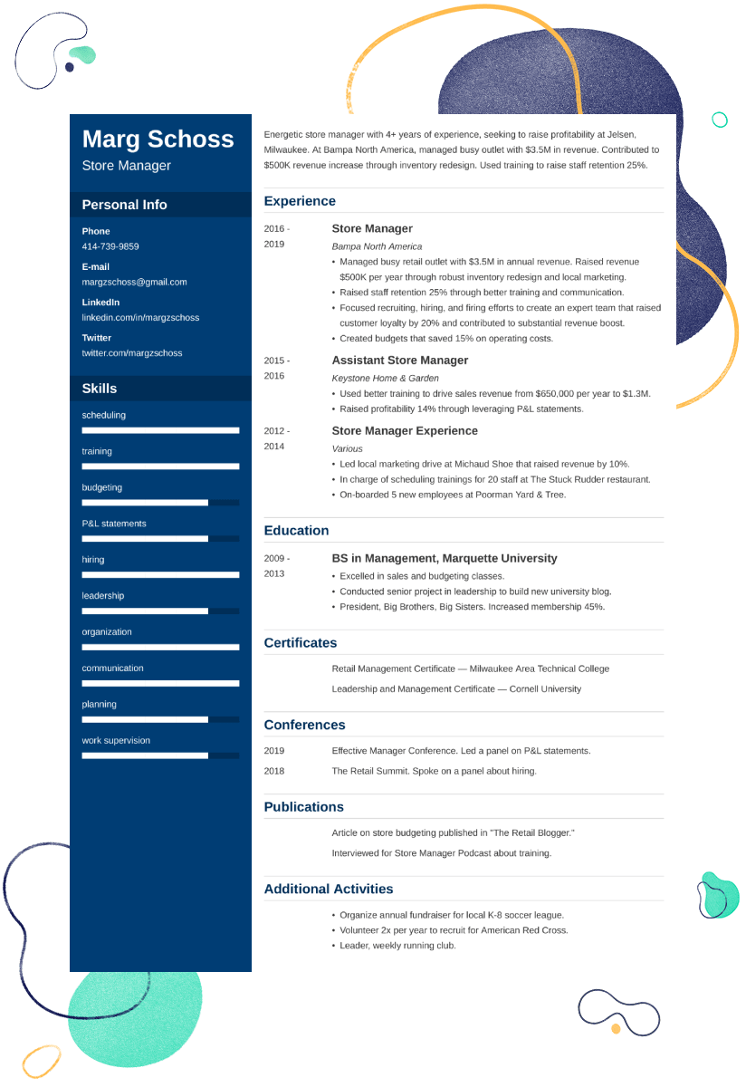 store manager resume u2014examples and 25  writing tips